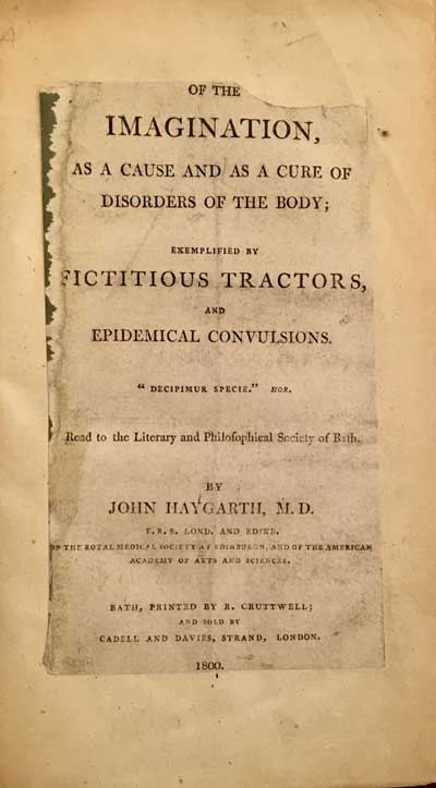 Title page to John Haygarth's experiment involving Perkins's tractors.