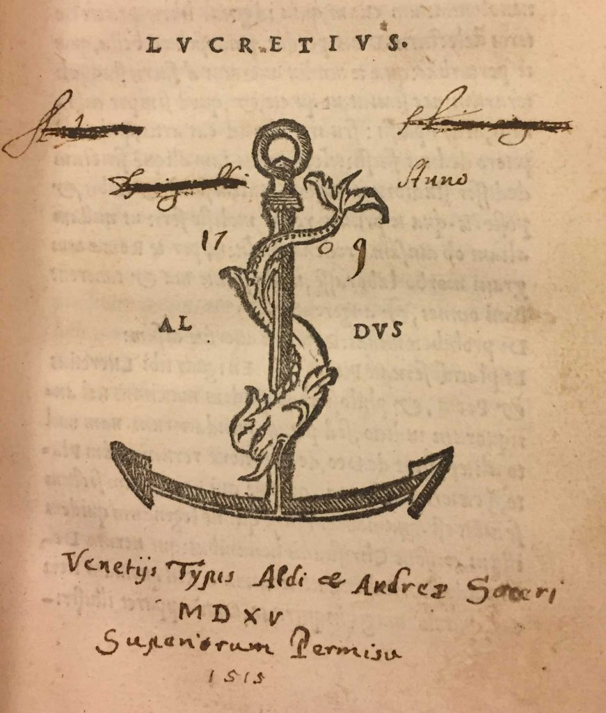 Aldine Press printer's device found in front of Lucretius's De rerum natura.