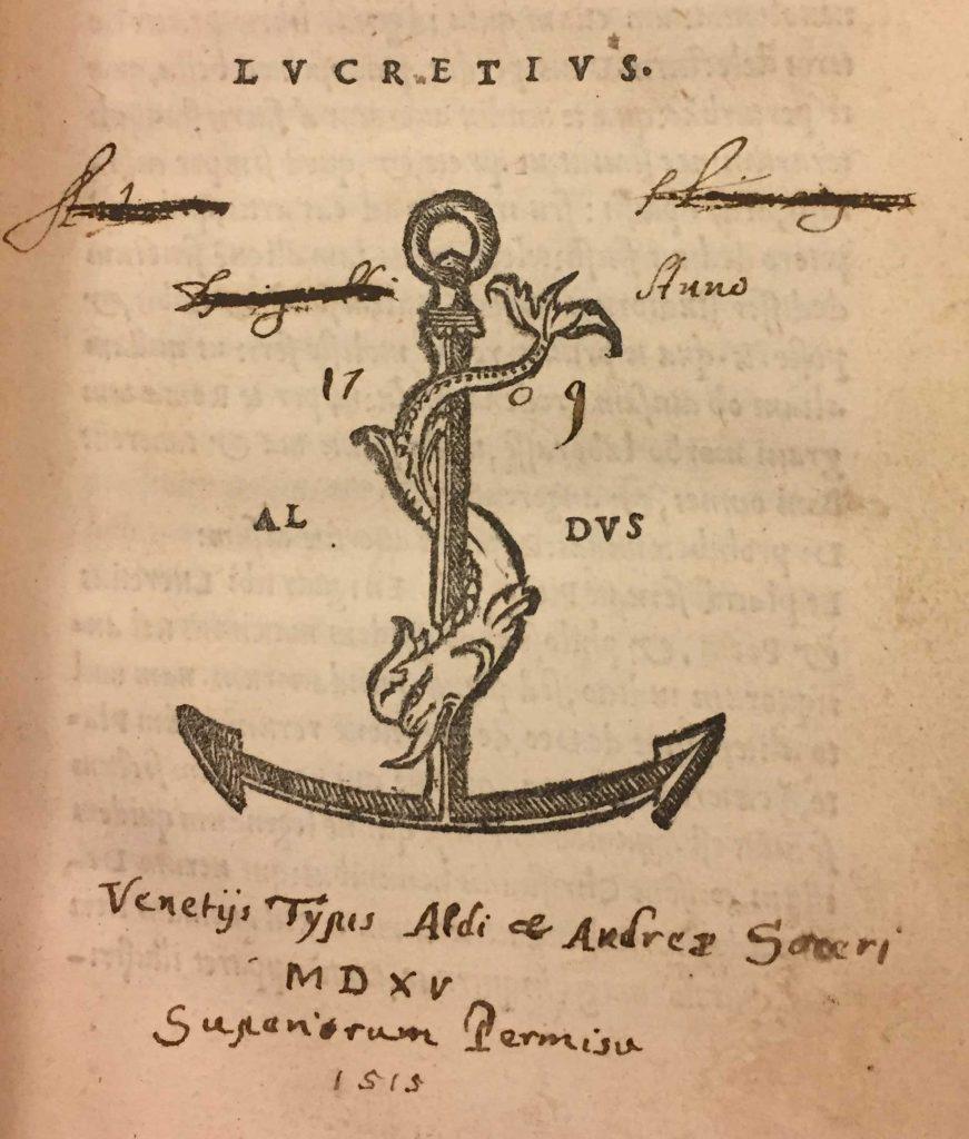 Aldine Press printer's device found in front of Lucretius's De rerum natura.