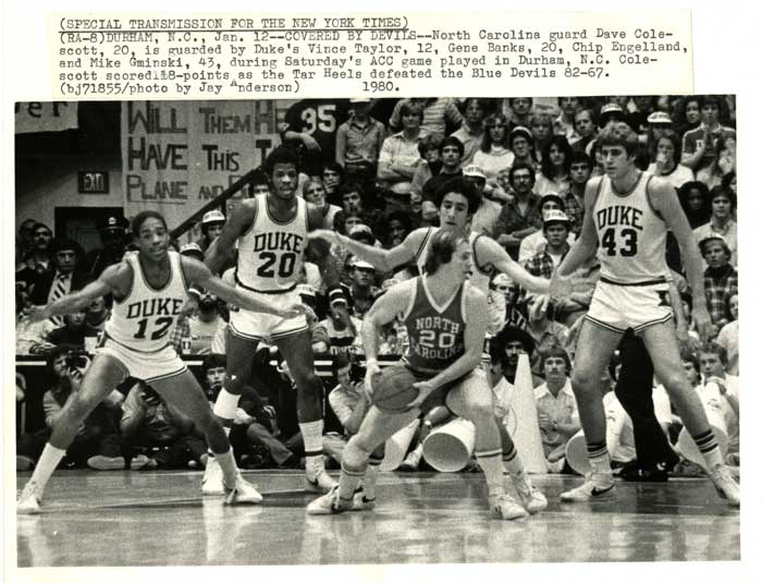 1980 Duke/UNC basketball game, image submitted to New York Times.