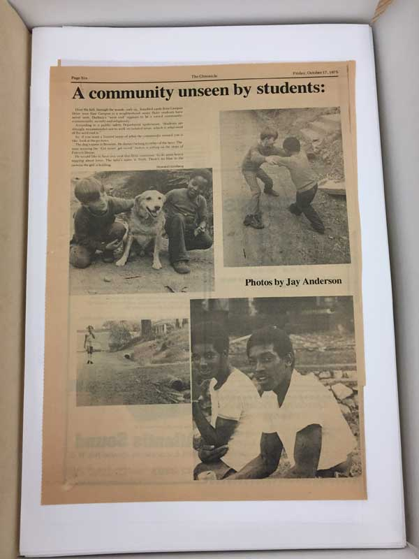 A 1975 issue of the Chronicle featuring Anderson's images of people in Durham.