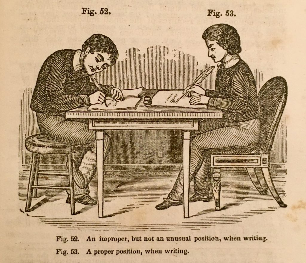 19th century illustration showing two school boys sitting opposite one another at a table. According to the image's caption, the one on teh left is showing poor writing posture, while the one on the right is showing the proper posture.