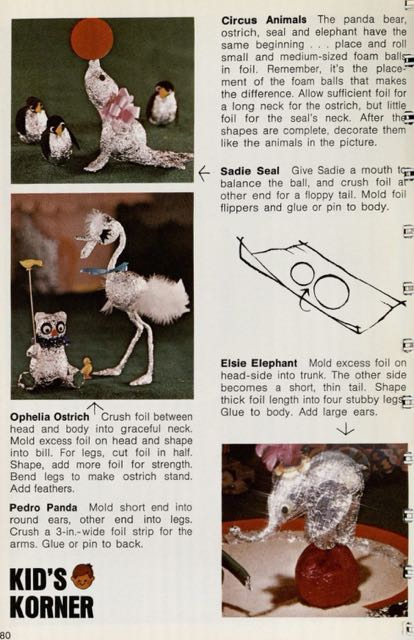 "Photograph of page in book giving directions for making a variety of animal out of aluminum foil, including ""Sadie Seal"""