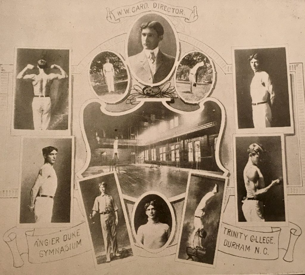 Image in honor of W.W. Card, director of athletics at Trinity College. Image includes 11 photographs of Card in various athletic poses.