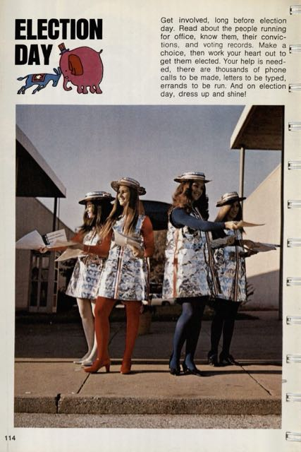 Photograph of page from book showing Election Day craft. Features four young women wearing dresses made of aluminum foil over red, white, and blue shirts and tights.  They area lso wearing hats made of aluminum foil and appear to be handing out campaign literature or other election material.