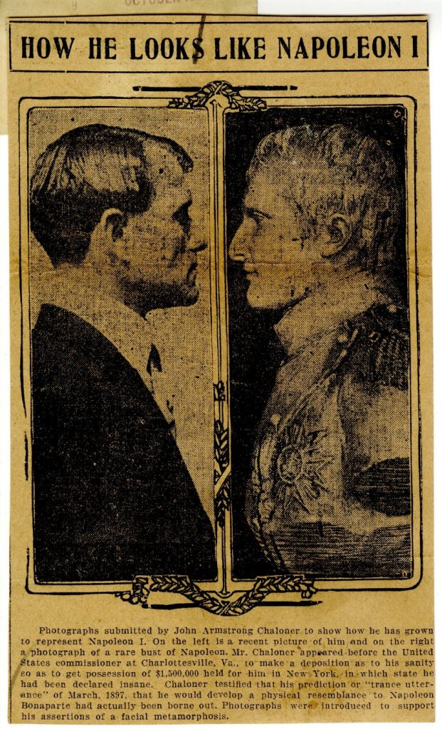 Newspaper clipping with Chaloner and Napoleon