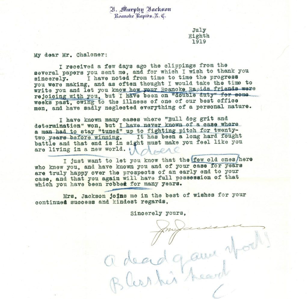 Letter congratulating Chaloner on his legal victory, 1919 July 8