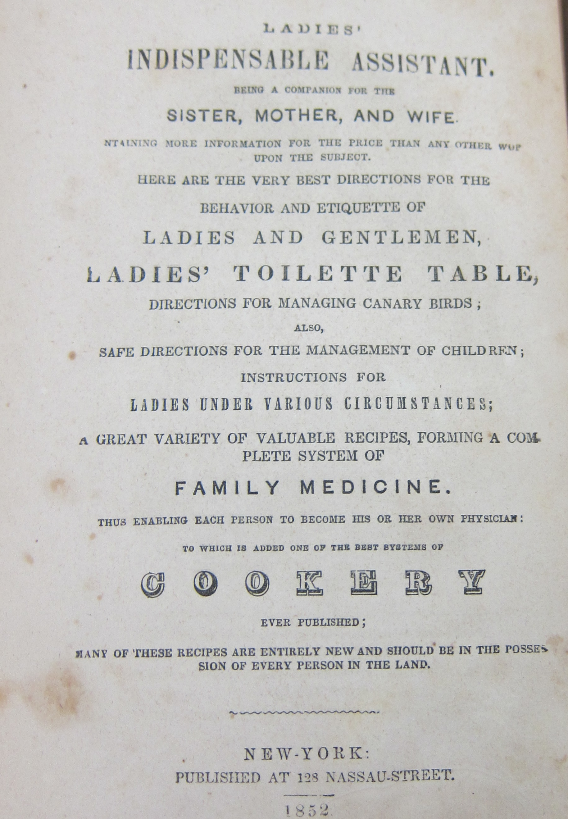 "Title page for book ""Ladies Indispensable Assistant"""