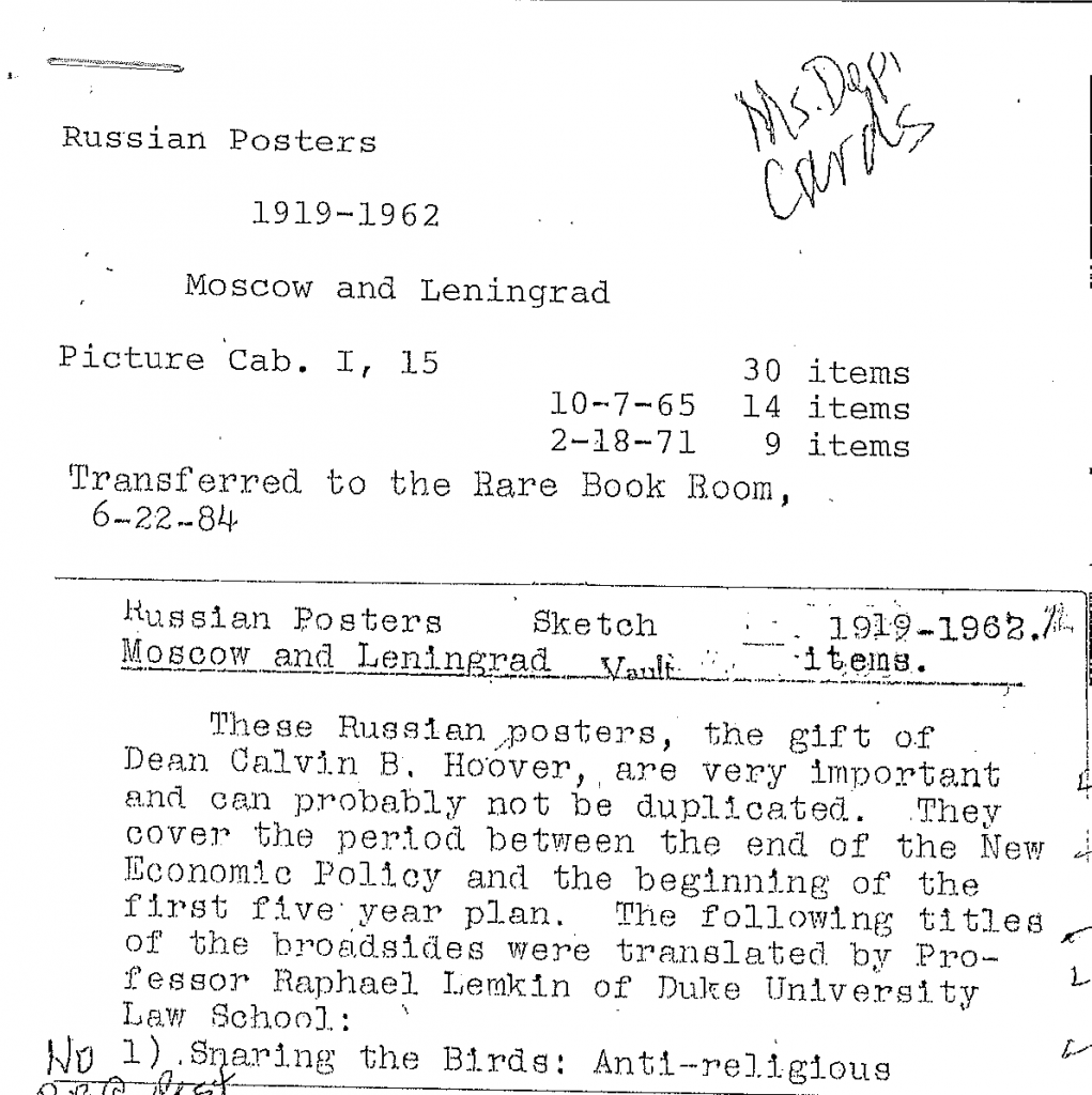 Scan of typewritten accession record for the Russian Posters Collection, stating they were a gift of Calvin B. Hoover