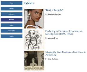 Screenshot from Race and Ethnicity in Advertising Website