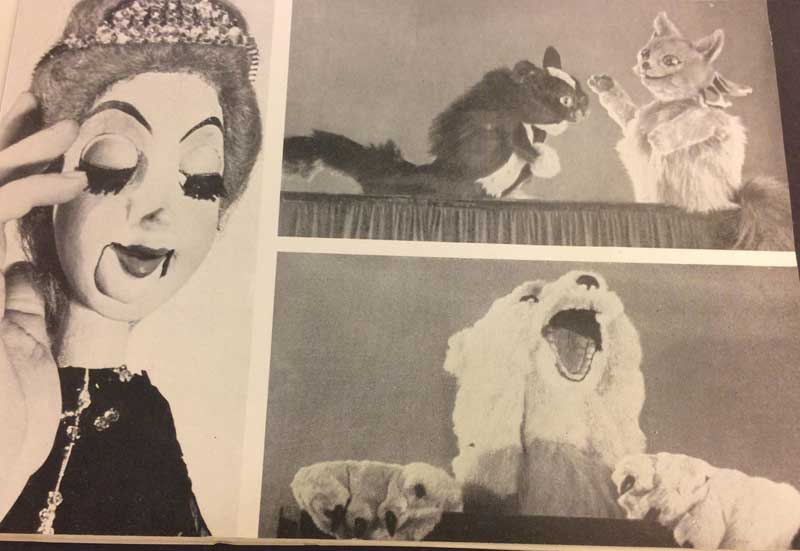 "Photo of a page from ""Puppets and the Puppet Theater"" showing puppets."