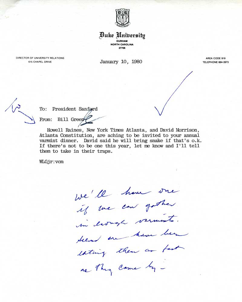Letter to President Terry Sanford from Bill Green about the 1980 Varmint Dinner