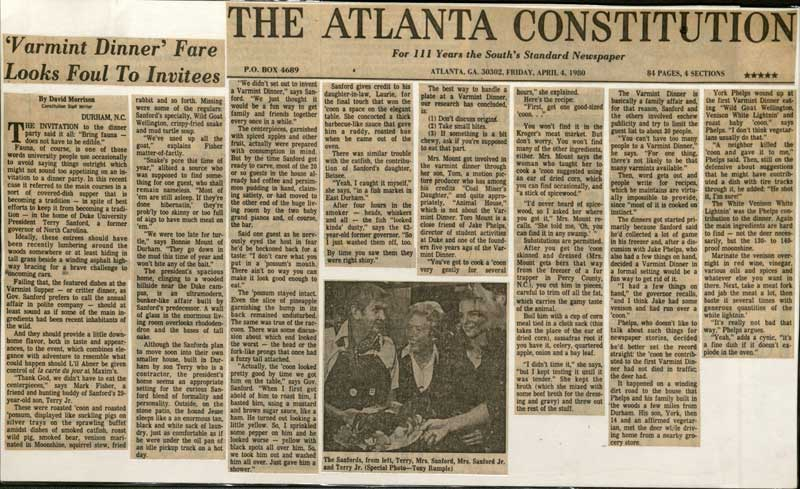 Copy of the April 4, 1980 Atlanta Constitution article about the Varmint Dinner