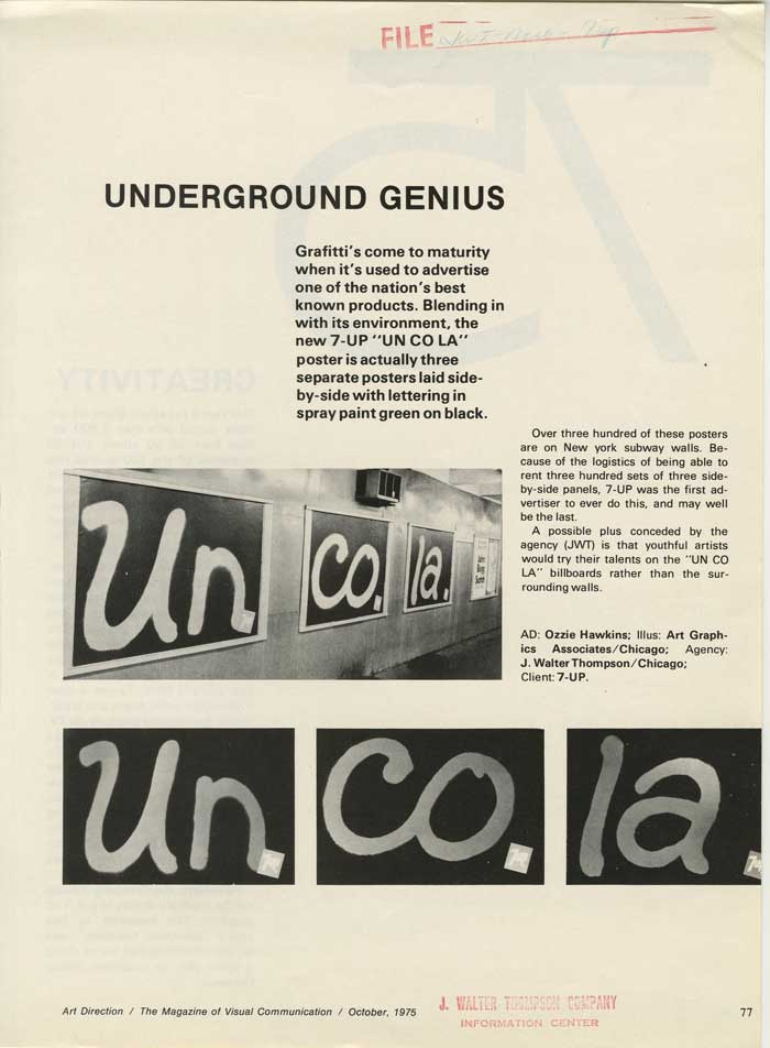 Brief article about Seven-Up Uncola grafitti posters