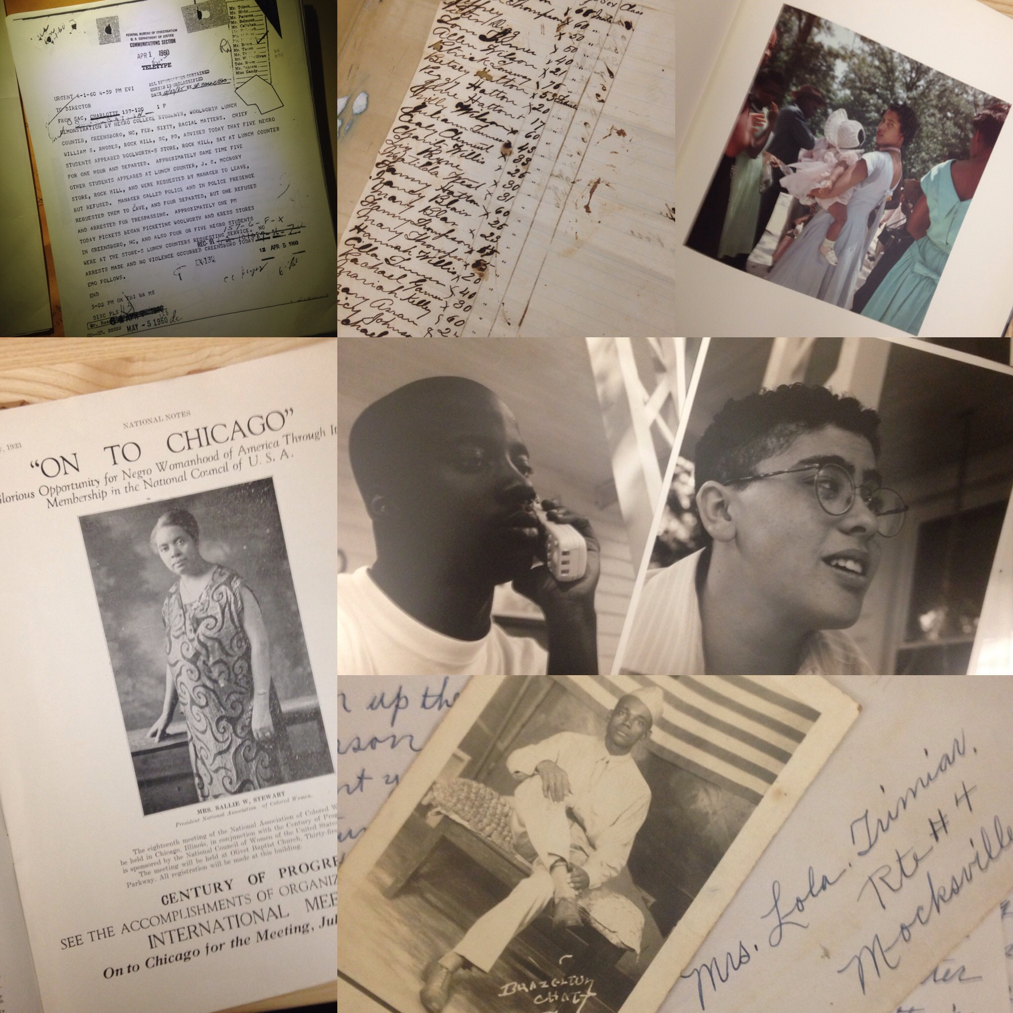 Materials from various collections at the Rubenstein Library that feature African Americans.