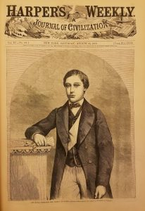 Scan of the Cover of Harper's Weekly magazine. Below the masthead is a wood engraving portrait of the Prince of Wales. He is show from the mid-thigh up, leaning against a short pillar on his right, holding a pair of gloves in his right hand.
