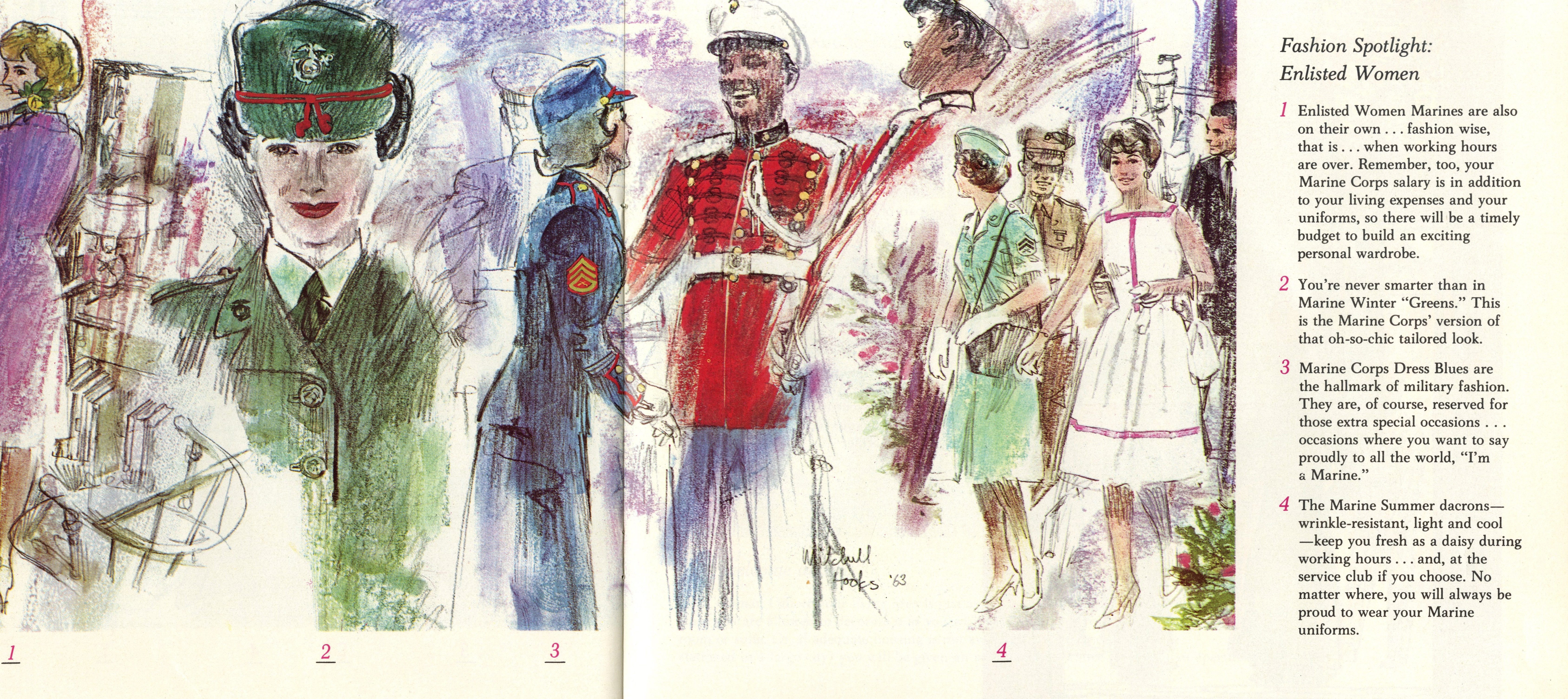 Hand-drawn depiction of men and women socializing in military uniforms.