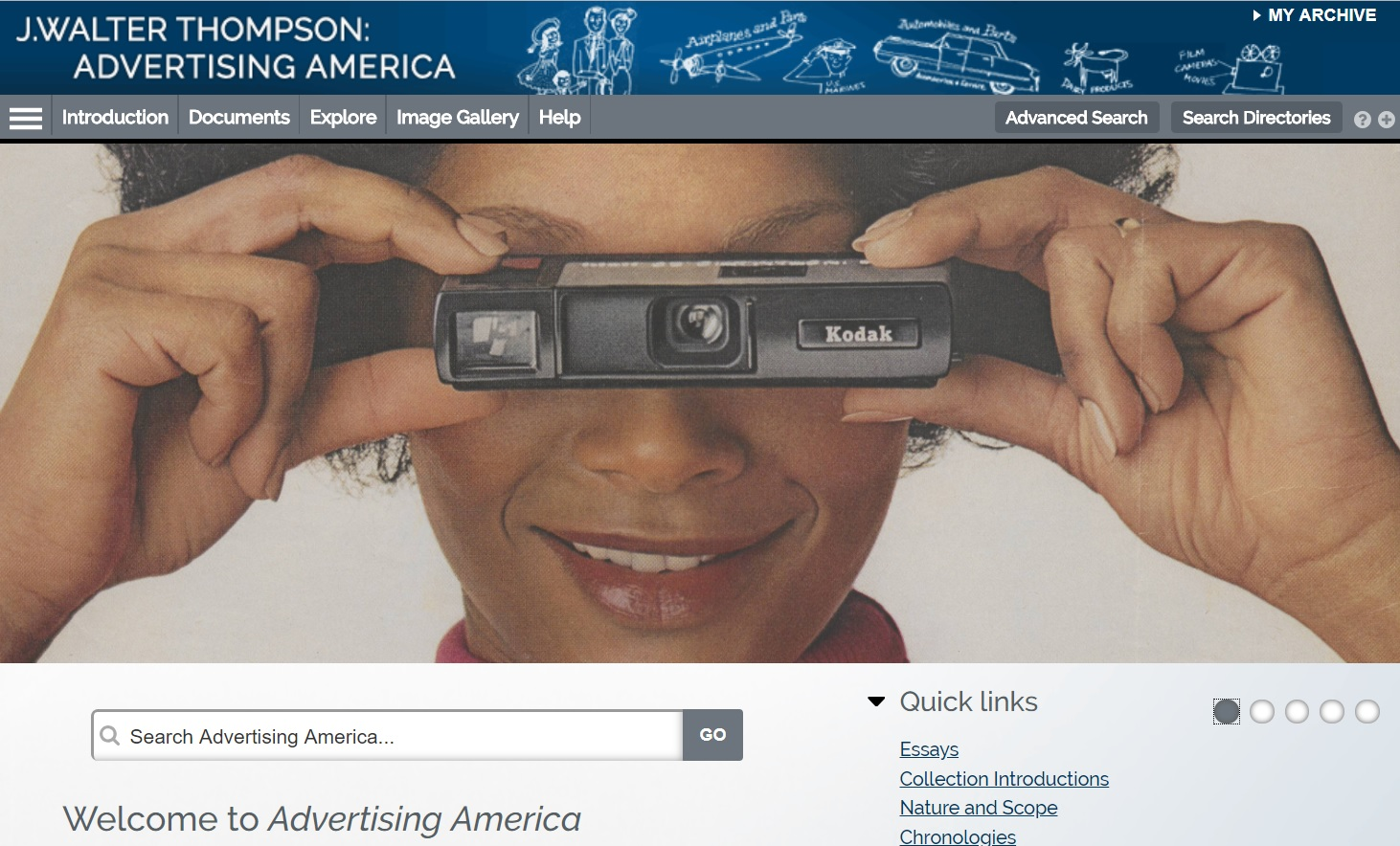 Homepage for J. Walter Thompson: Advertising America database featuring 1972 Kodak ad from the JWT Advertisements Collection.