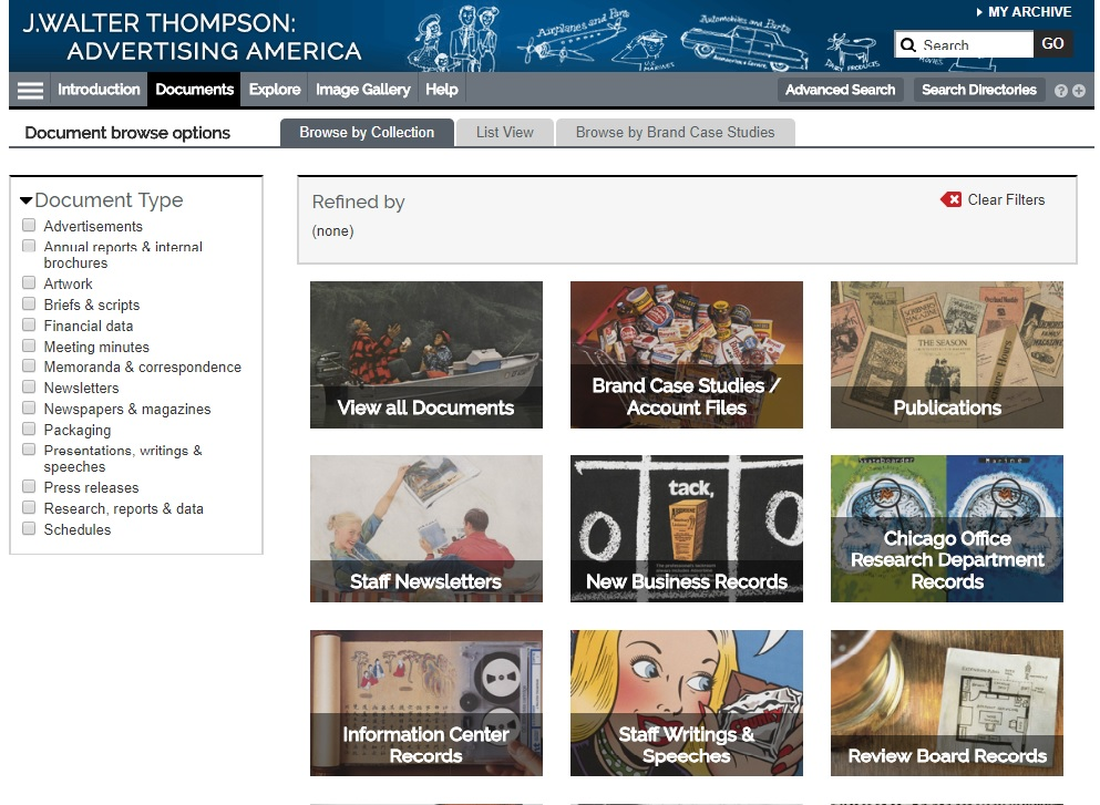 """Browse by Collection"" page for J. Walter Thompson: Advertising America research database."