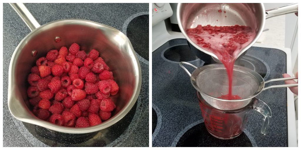 two photographs: the first of fresh raspberries in a saucepan on a stove top, the second of cooked raspberries in the saucepan being poured through a strainer into a glass measuring cup.