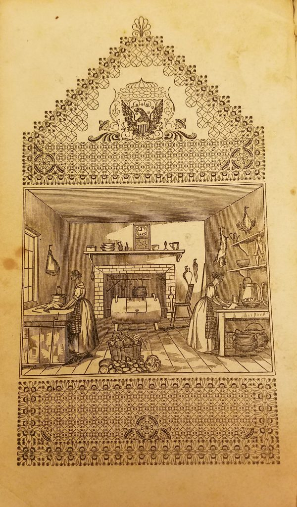 Photograph of engraved image in book showing two women working in a nineteenth century kitchen