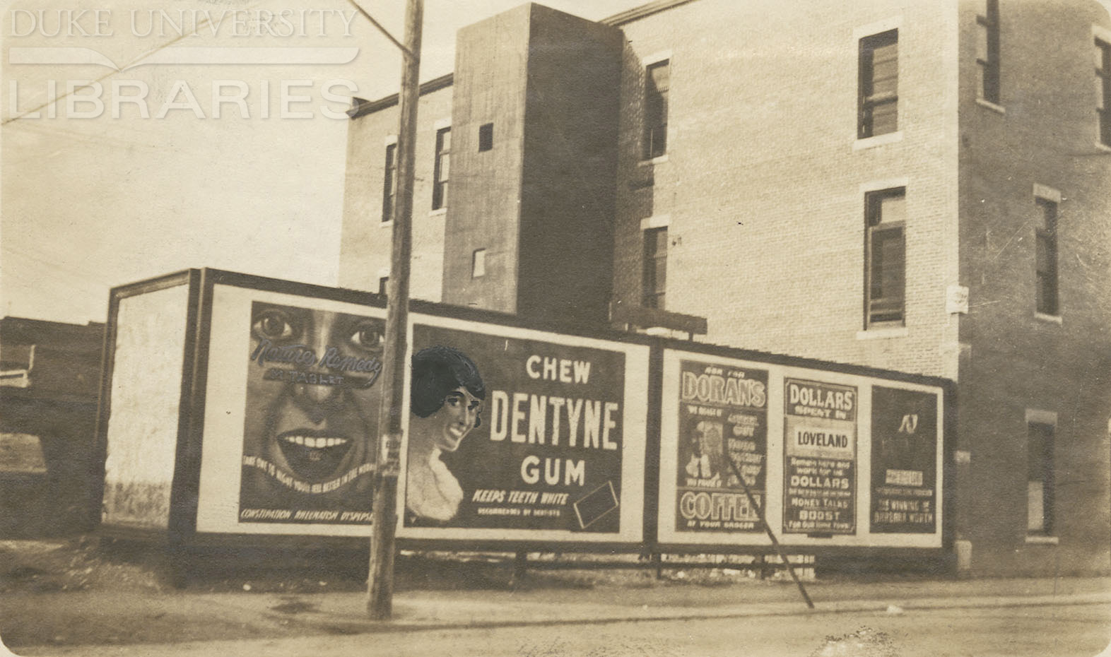 Black and white bilboard advertisements.