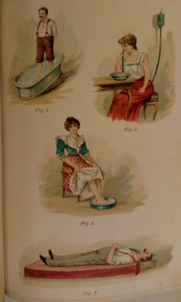 Photograph of colored plate in book illustrating various uses for water to promote health. Figure 1 is a band standing in a bathtub, Figure 2 is a woman seated at a table, using a tube connected to a bag of water to rinse her nose, Figure 3 is a woman seated in a chair with her feet in a shallow tray of water Figure 4 is a man lying on a low mattress with the back of his head resting in a a shallow tray of water