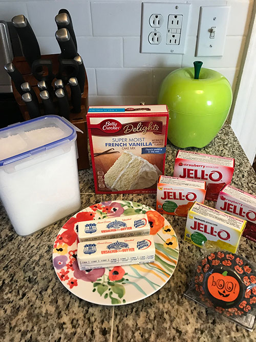 Color photo of cupcake ingredients, including four boxes of Jell-O!