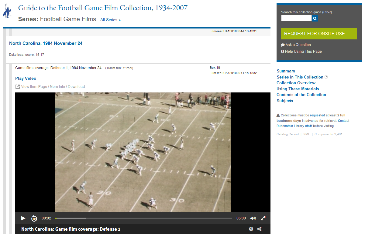 Screenshot of Football Game Film Collection guide showing streaming 1984 Duke vs. UNC game film