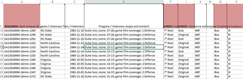 Screenshot of the Excel spreadsheet with metadata about the football game films