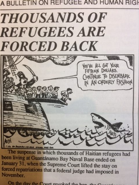 Political cartoon depicting Haitian migrants