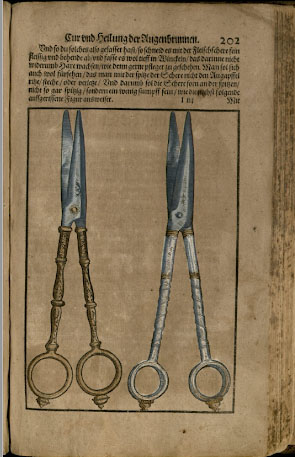 Color photo of illustration from Ophthalmodouleia, das ist Augendienst showing a pair of scissors highlighted in gold and silver.