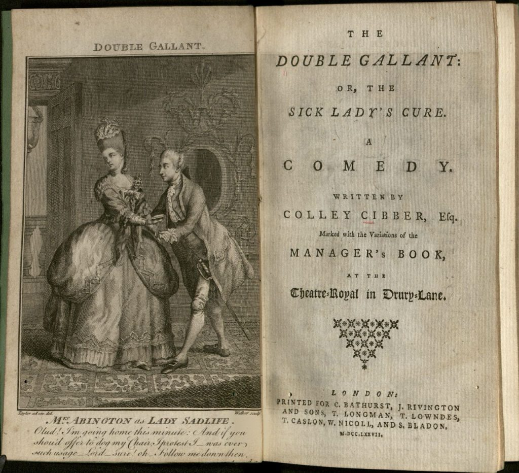 "Scan of ""The Double Gallant"" open to the title page. Opposit the title page is an engraved illustration of a man and woman in aristocratic 18th century dress. The woman is looking a way from the man who is bowing close to her."