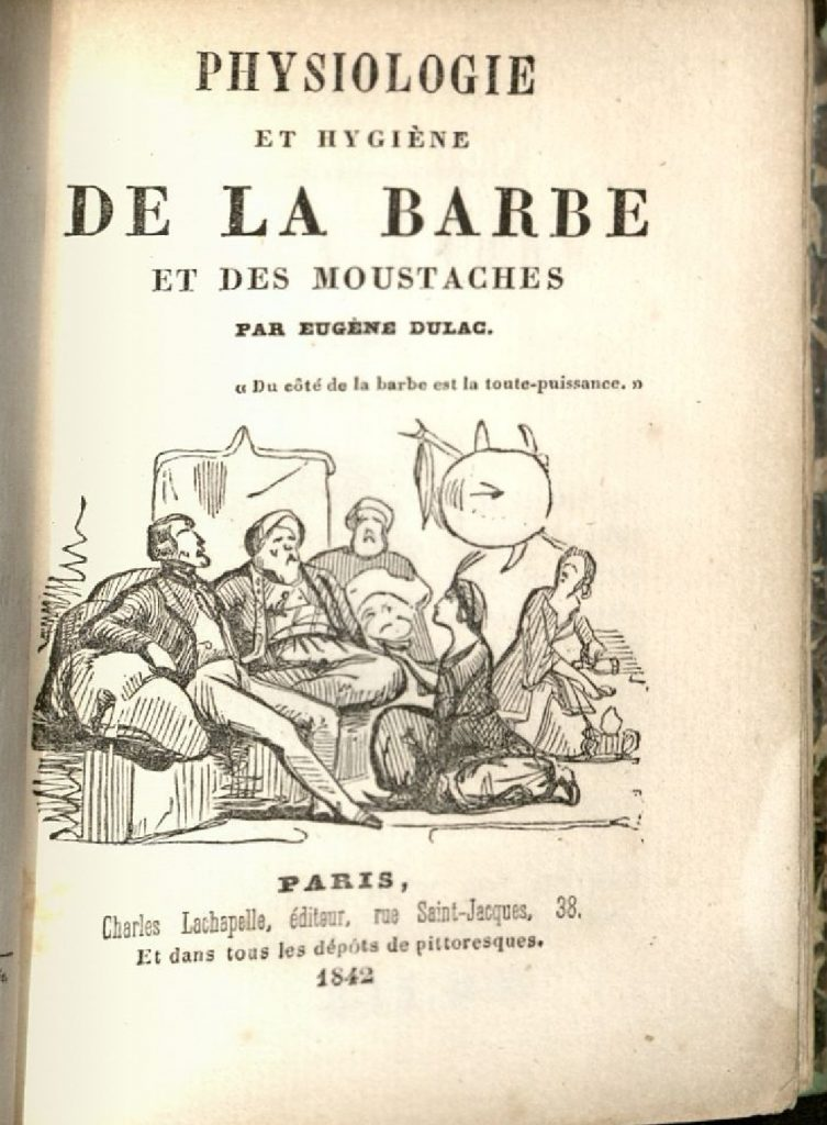 "Title page of ""Physiologie et Hygiene"" It includes an illustration showing three men seated on low chairs, with two women kneeling on the floor before them."