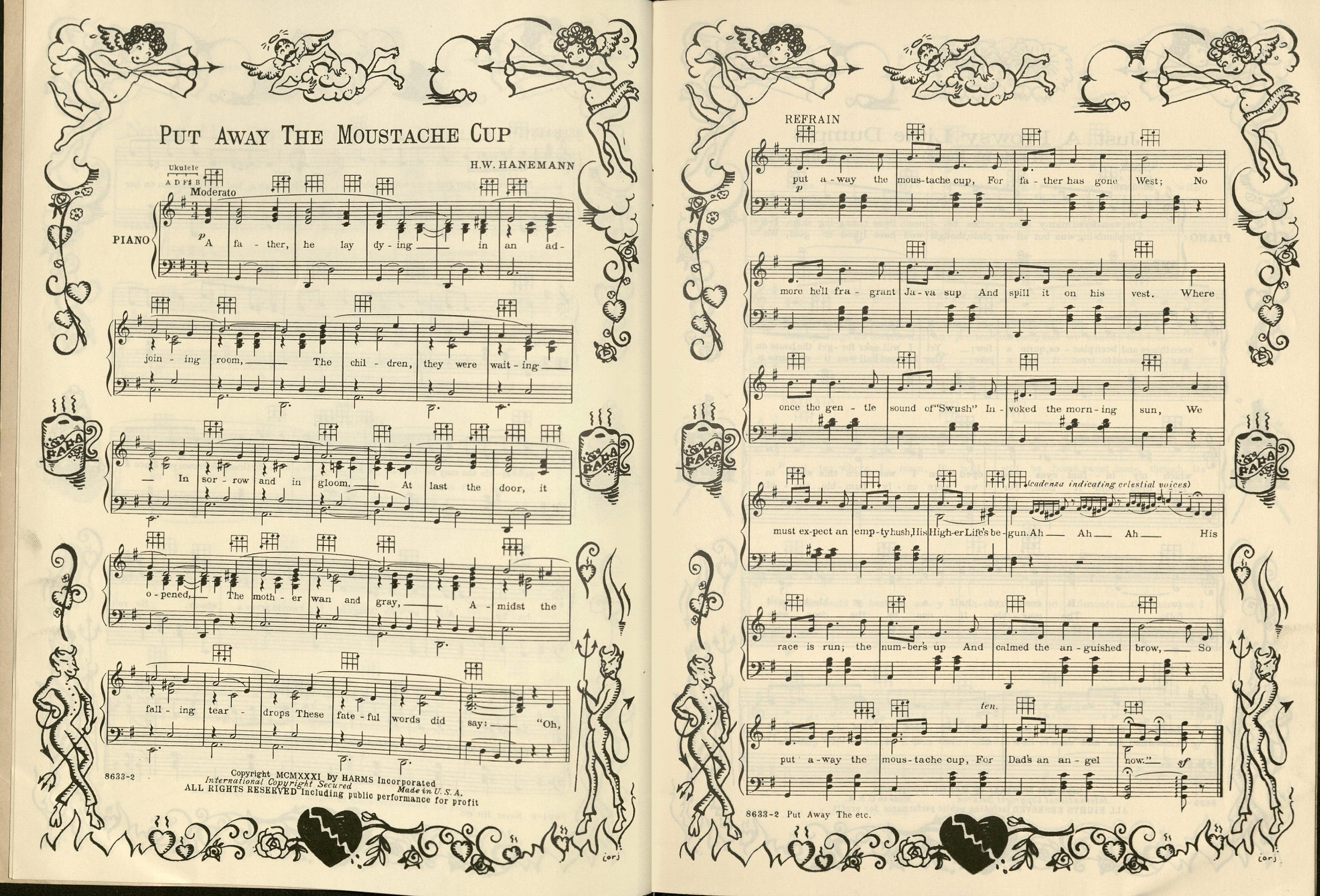 "Scan of sheet music for ""Put Away the Moustache Cup."" The music is decorated around the edges with images of cupid and devils."