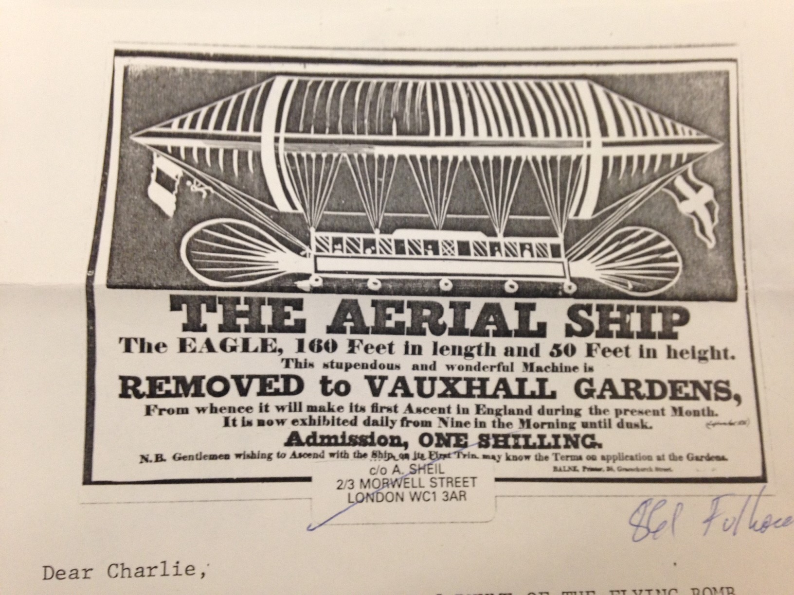 Advertisement for an aerial ship on stationary.