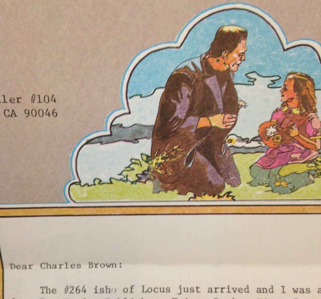 Color illustration of Frankenstein showing a flower to a little girl on stationary.