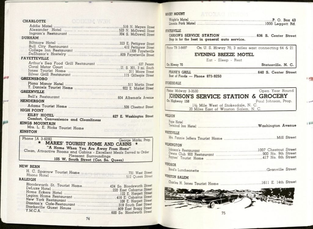 Scan of pages 74 and 75 from the 1962 Green Book, listing business in North Carolina, including Durham