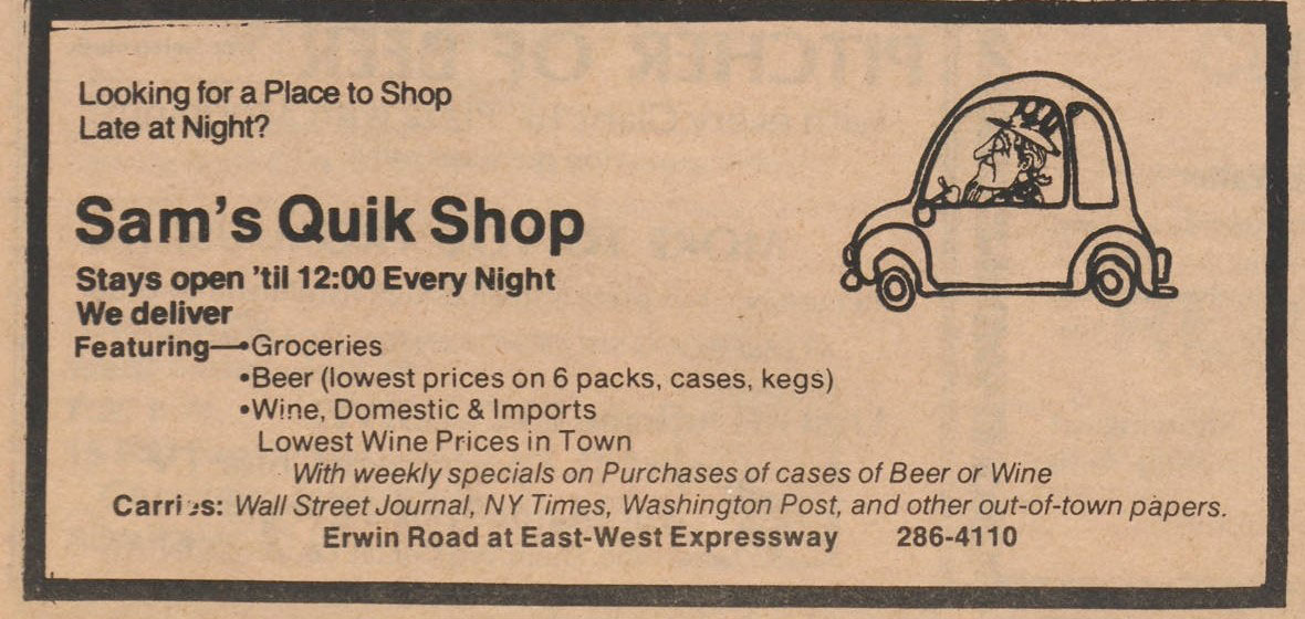 Sam's Quik Shop ad from the July 12, 1976 Chronicle. The ad shows an illustration of Uncle Sam driving a car and text about the Quik Stop's hours, products, and address.