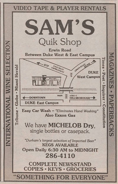 Sam's Quik Shop ad from the November 11, 1988 Chronicle. Ad shows a map of Sam's location and information about the products they carry.