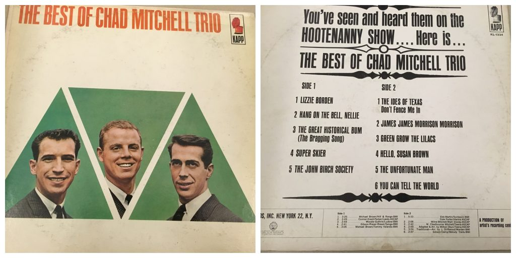 "composite image showing the front of the album ""The Best of chad Mitchell Trio"" on the left and the reverse listing the track listing on the right. The first track on the album is ""Lizzie Borden"""