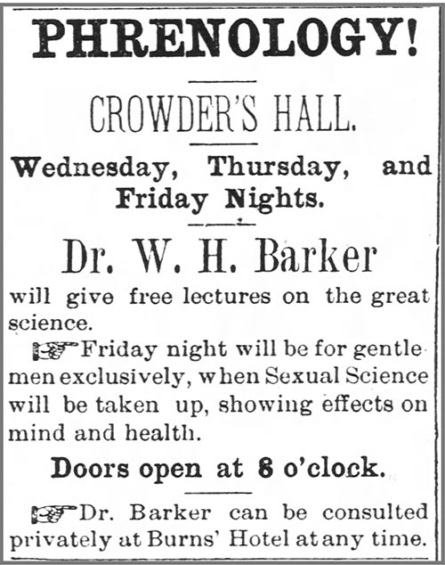 Announcement for Dr. Barker's lecture in Wadesboro, N.C. in August 1883.