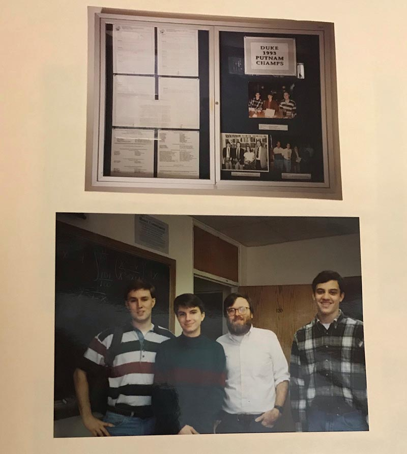 A scrapbook page with two photos relating to the 1993 Putnam competition team. The top photo shows a display in the mathematics department about the competition. The bottom photo shows the winning team of three students and a faculty member.
