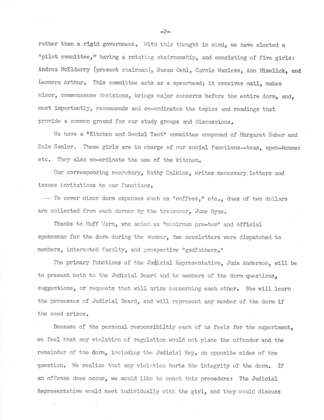 Typewritten page describing the government and organization of the Experimental Dorm.