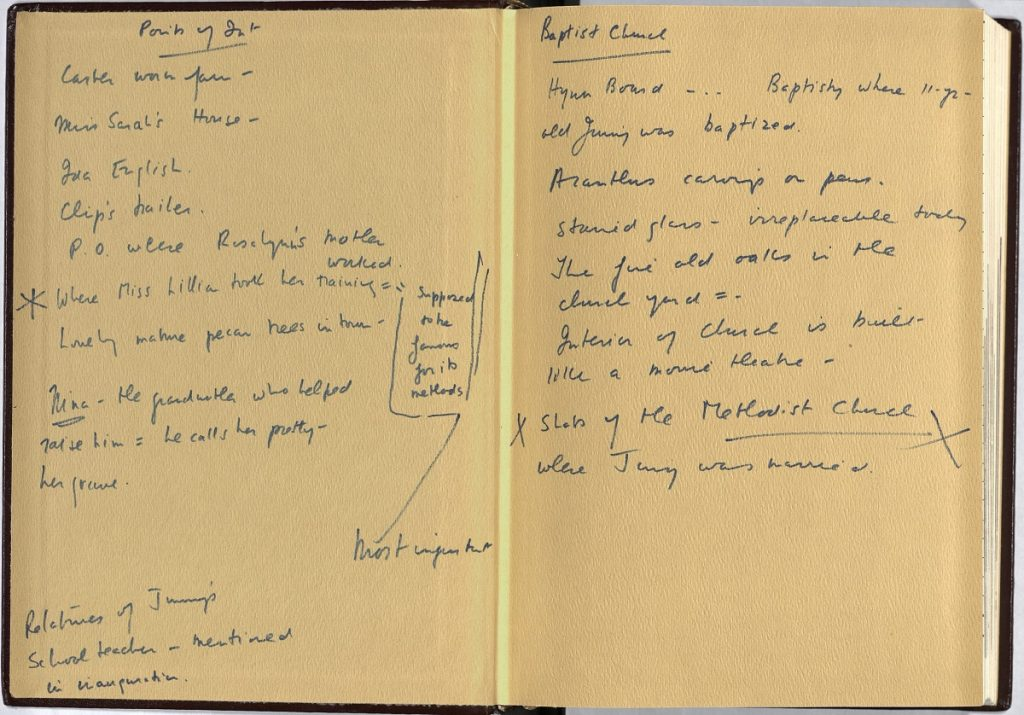 Front endpapers of Dawn Langley Simmon's diary, showing handwritten notes by her on both sides
