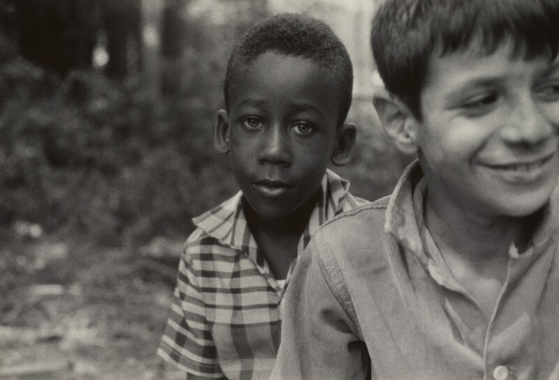 Black and white photograph of two boys