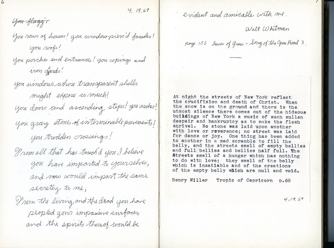 Two pages from Gedney's journal from 1969.