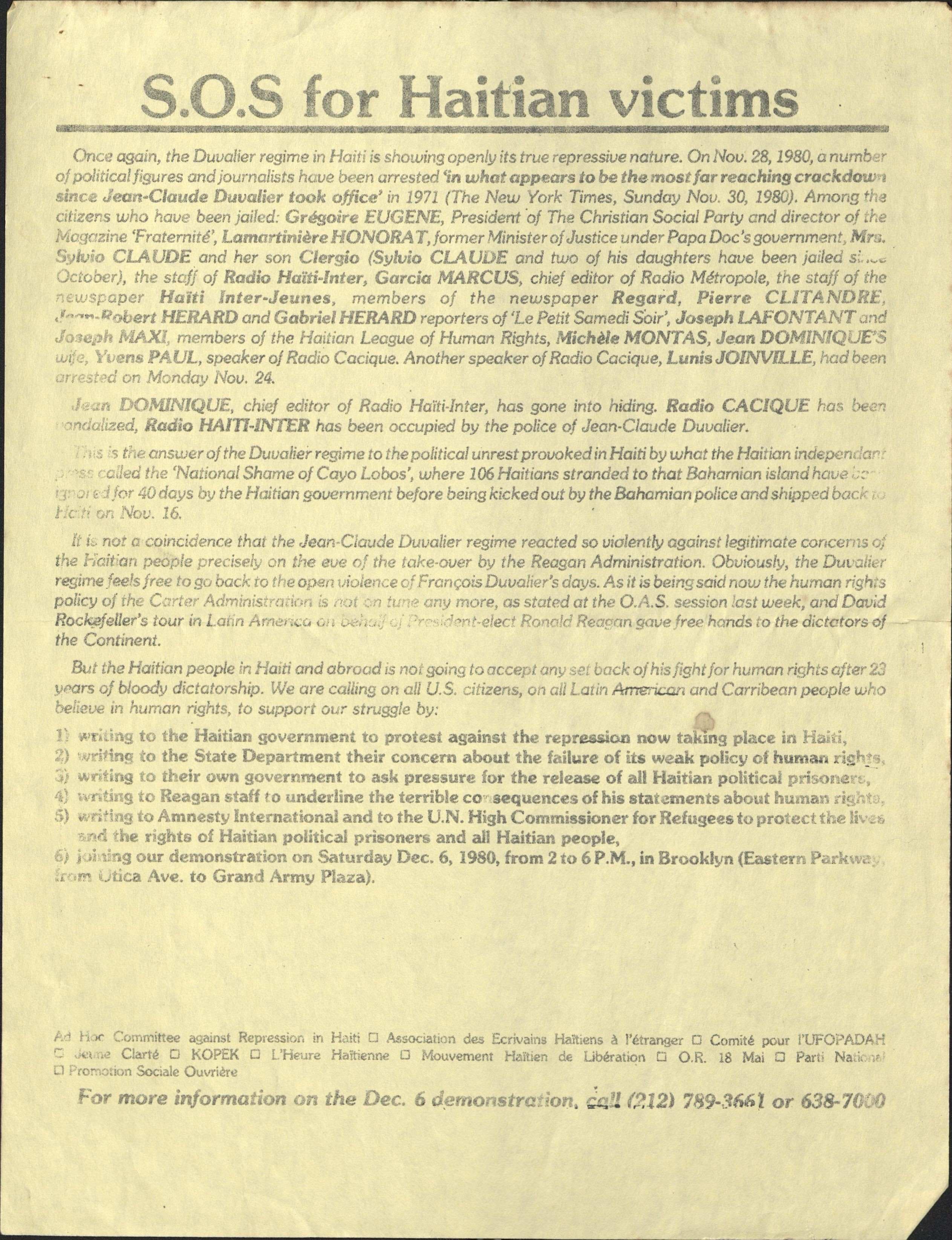 Document about the Duvalier regime and repression of Haitian journlalists