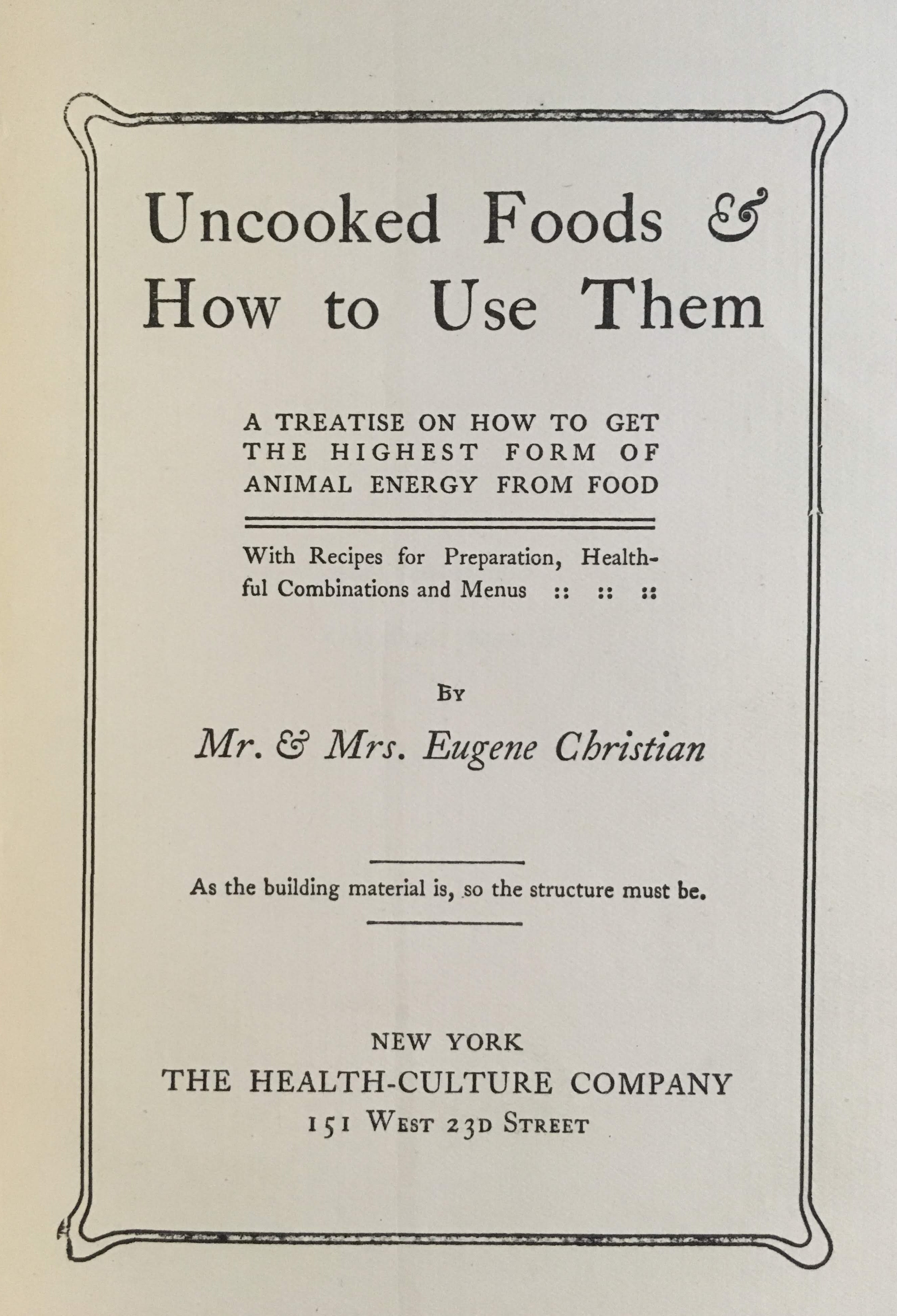 Title page of Uncooked Foods