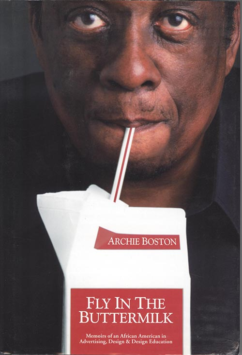 "Book jacket image from ""Fly in the Buttermilk,"" showing Mr. Boston drinking out of a milk carton through a red-and-white striped straw."